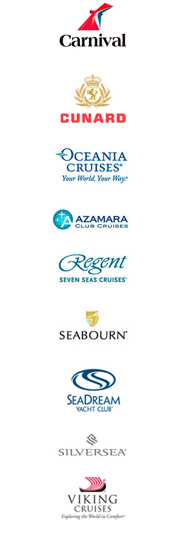 Cruzeiros Standard, Premium e Luxo com Carnival, Crystal Cruises, Seabourn, Silversea, Celebrity Cruises, Holland America, Princess Cruises- Oceania, Azamara Club Cruises e Regent Seven Seas Cruises